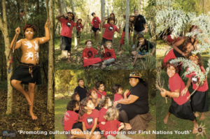 A collage of Indigenous children practising traditional cultural practices.